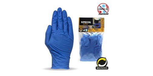 Blister with 10 disposable gloves Nitrile Blue PM 525 - PECOL